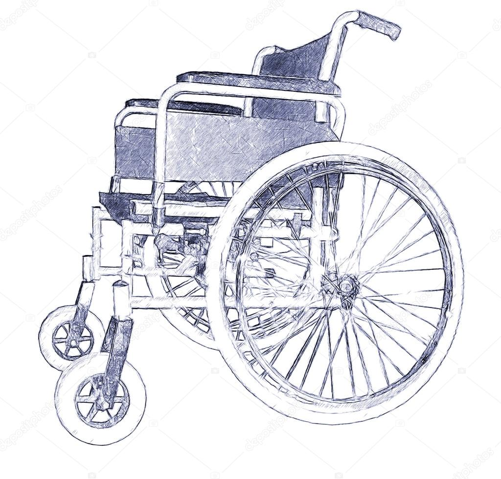 1024x980 Wheelchair. Illustration In Draw,doodle, Pen Sketch Style. Stock