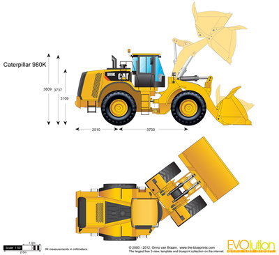 400x366 Caterpillar 980k Wheel Loader Vector Drawing