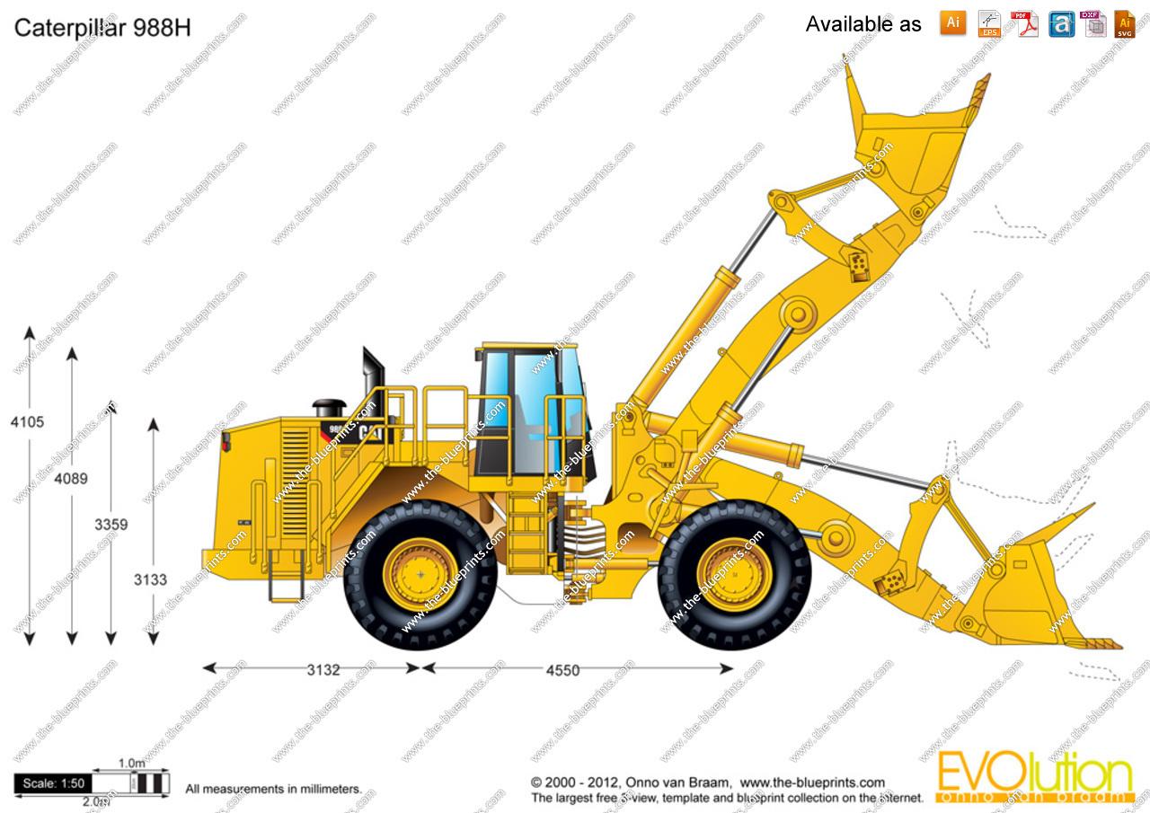1280x905 Caterpillar 988h Wheel Loader Vector Drawing