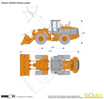 400x378 Hitachi Zw250 Wheel Loader Vector Drawing