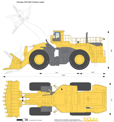 400x429 Komatsu Wa1200 3 Wheel Loader Vector Drawing