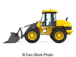 257x194 Wheel Loader Bulldozer Isolated On White Background. 3d Drawing