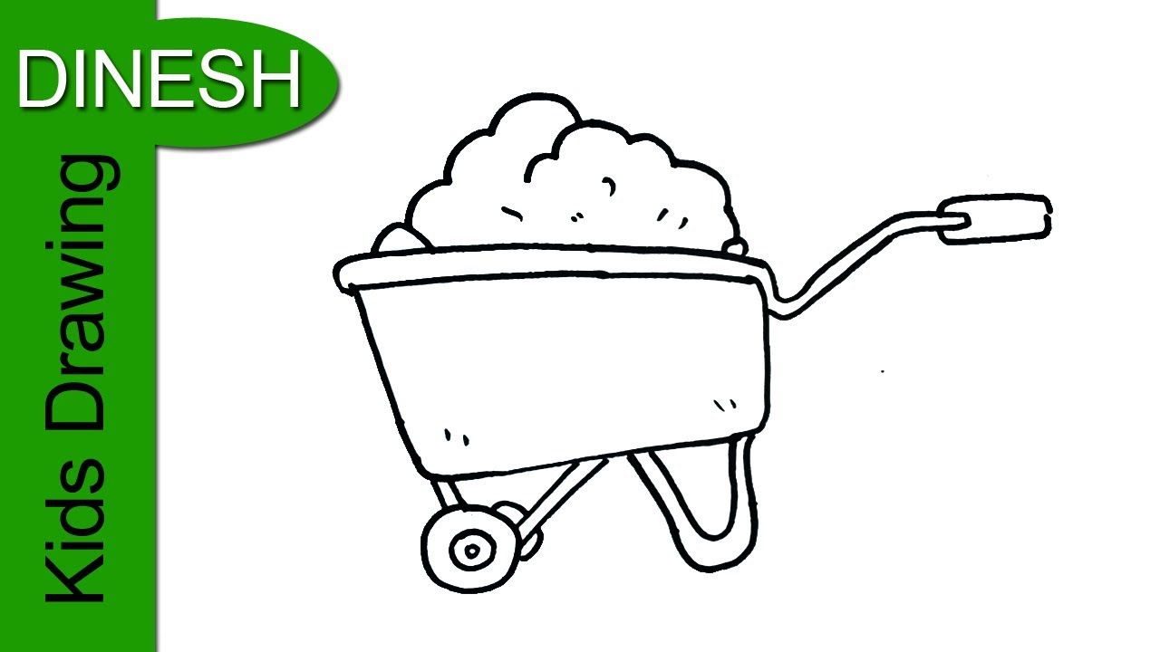 1280x720 How To Draw A Wheelbarrow Drawing For Kids