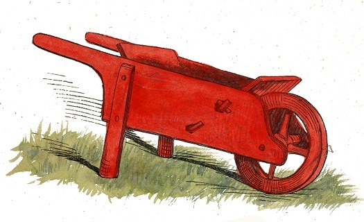 525x320 Red Wheelbarrow Drawing
