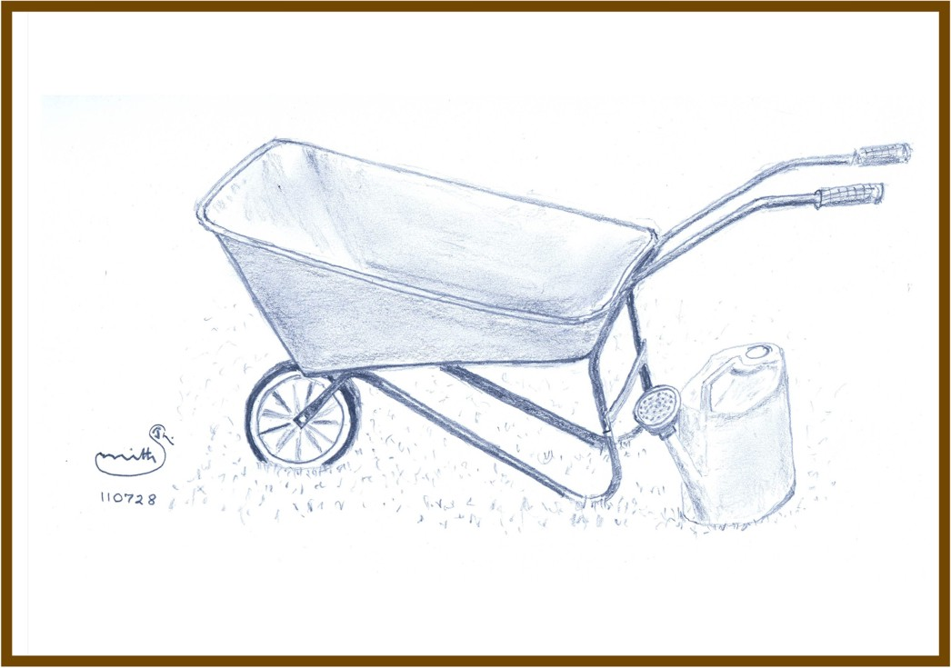 1046x735 Wheelbarrow, Watering Can, And Broom The Quavering Pencil