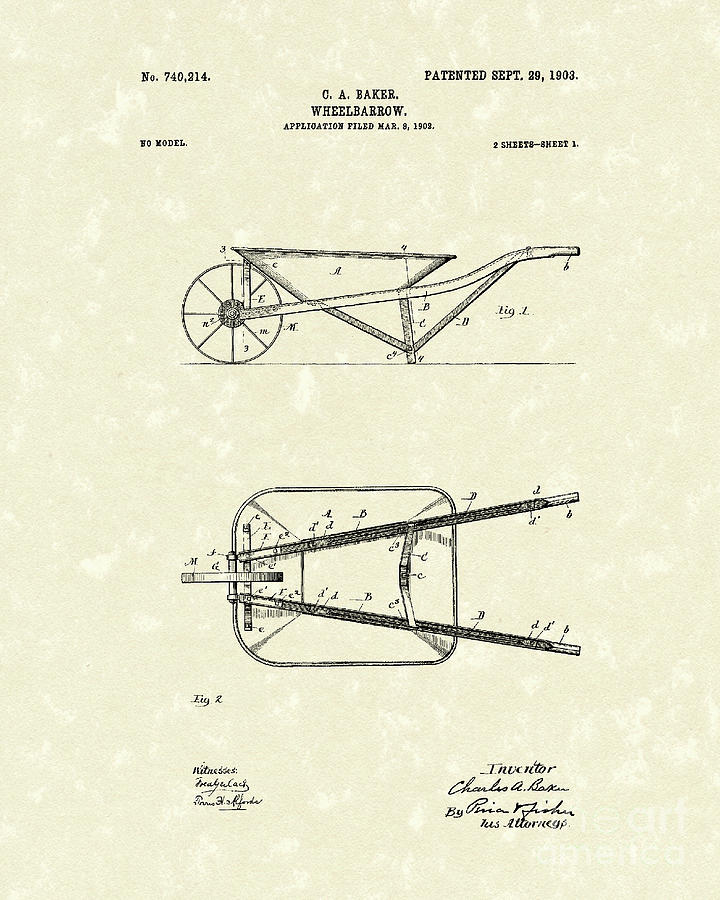 720x900 Wheelbarrow 1903 Patent Art Drawing By Prior Art Design