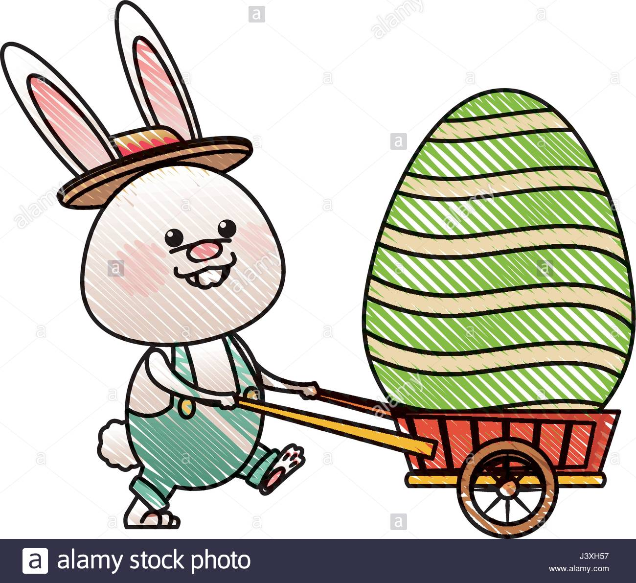 1300x1191 Drawing Easter Rabbit With Decor Egg Wheelbarrow Stock Vector Art