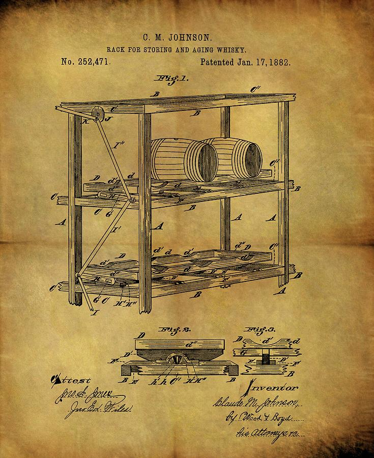 735x900 1882 Whiskey Barrel Rack Drawing By Dan Sproul