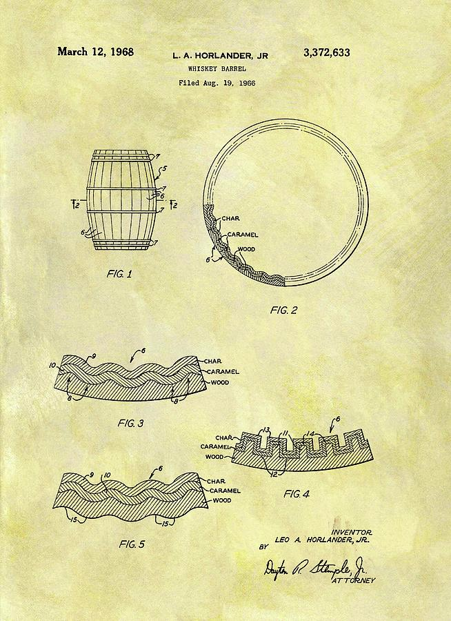 654x900 1968 Whiskey Barrel Patent Drawing By Dan Sproul