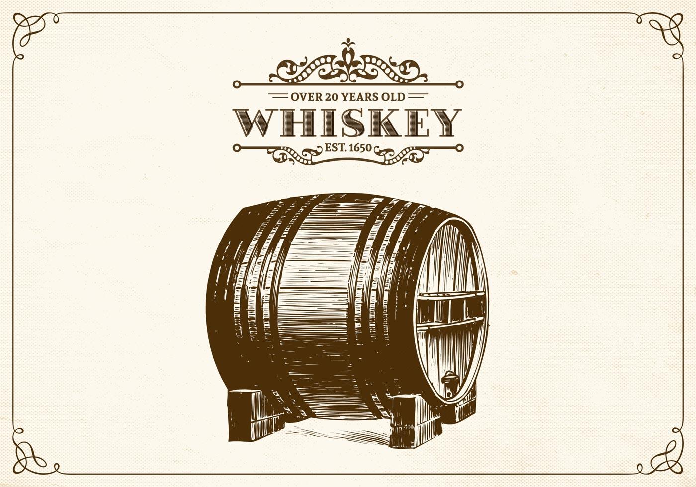 1400x980 Free Hand Drawn Whiskey Barrel Vector