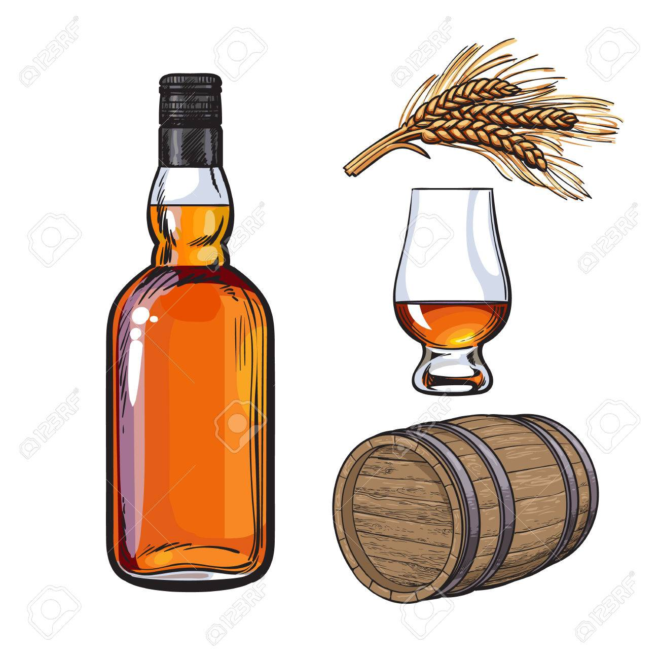 1300x1300 Set Of Hand Drawn Whiskey Bottle, Glass, Barrel And Malt, Sketch