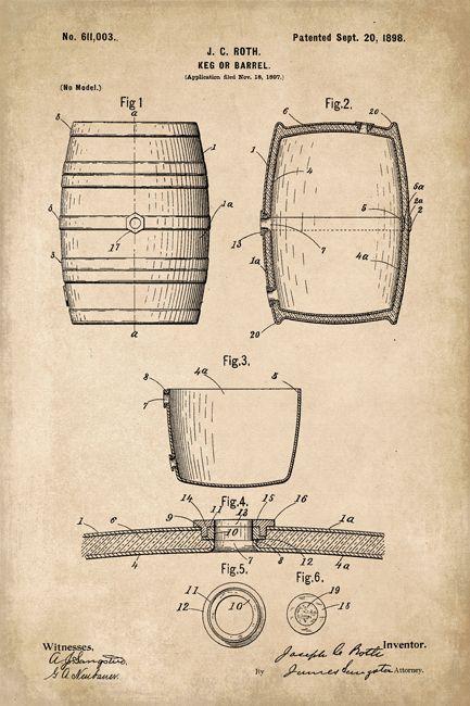 433x650 Whiskey Barrel Patent Art Poster Print Whiskey Barrels And Barrels