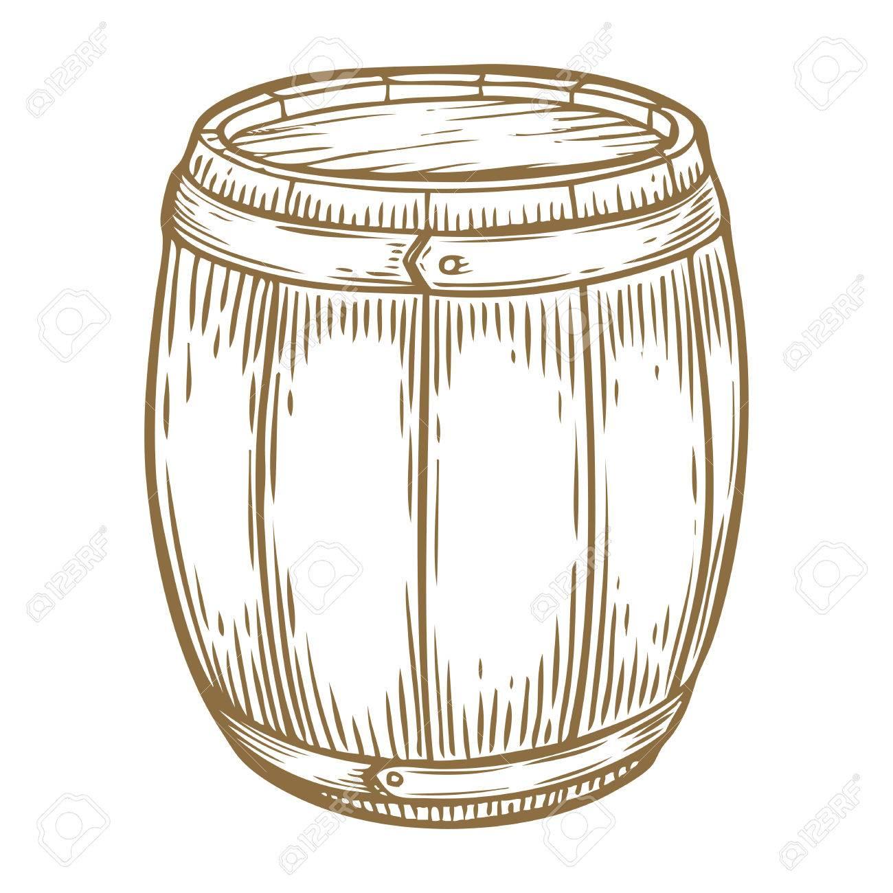 1300x1300 Wooden Craft Beer, Whiskey, Wine Alcohol Barrel. Brown Vintage