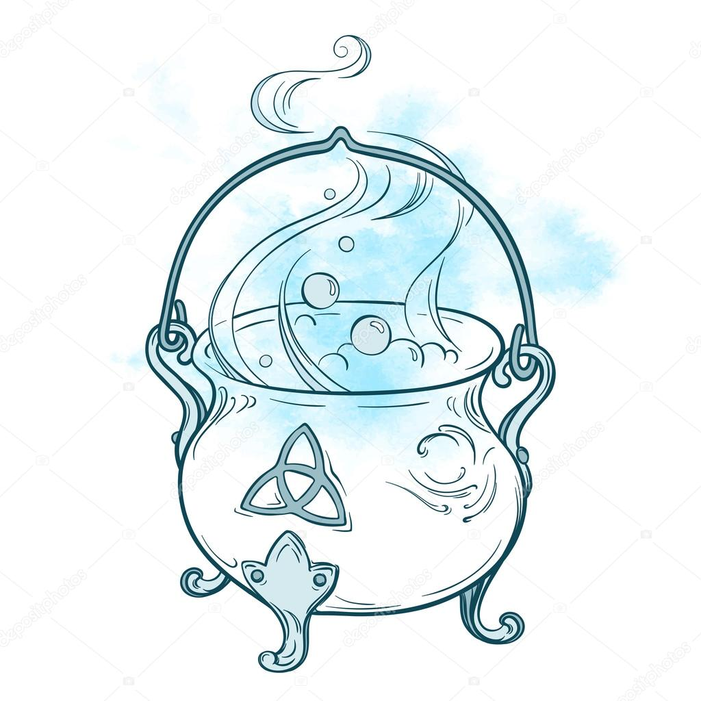 1024x1024 Blue Boiling Magic Cauldron Vector Illustration. Hand Drawn Wiccan