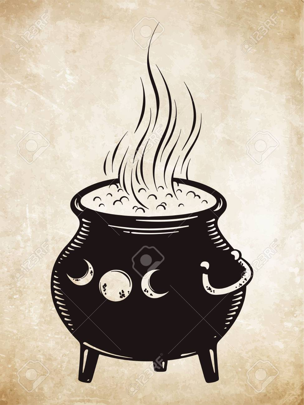 975x1300 Boiling Magic Cauldron Vector Illustration. Hand Drawn Wiccan