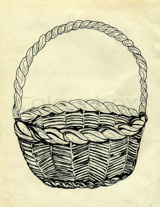 618x800 Hand Drawn Illustration Of A Wicker Woven Basket. Stock Photo