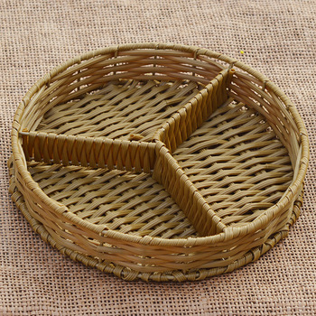 350x350 Rattan Separated Dry Fruit Plate Pastic Basket