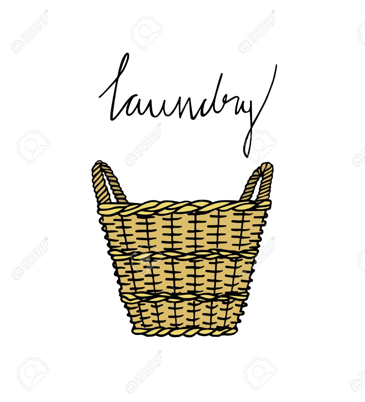 1181x1300 Vector Illustration Of Hand Drawn Wicker Basket With Laundry