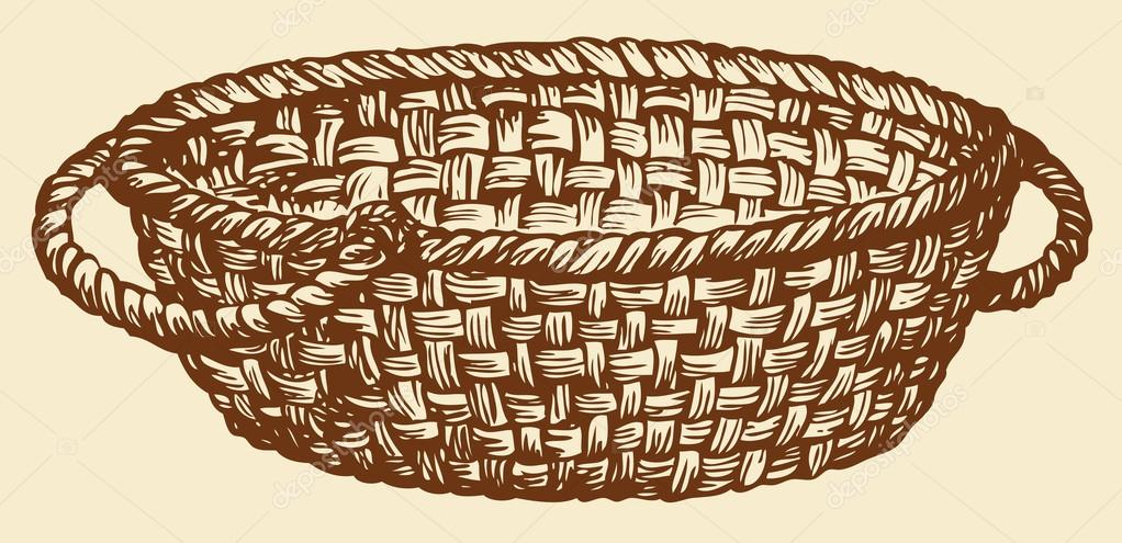 1022x495 Vector Monochrome Drawing. Empty Wicker Basket Stock Vector