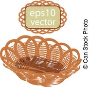 183x179 Wicker Basket With Flowers Vector Drawing On Brown Eps Vectors