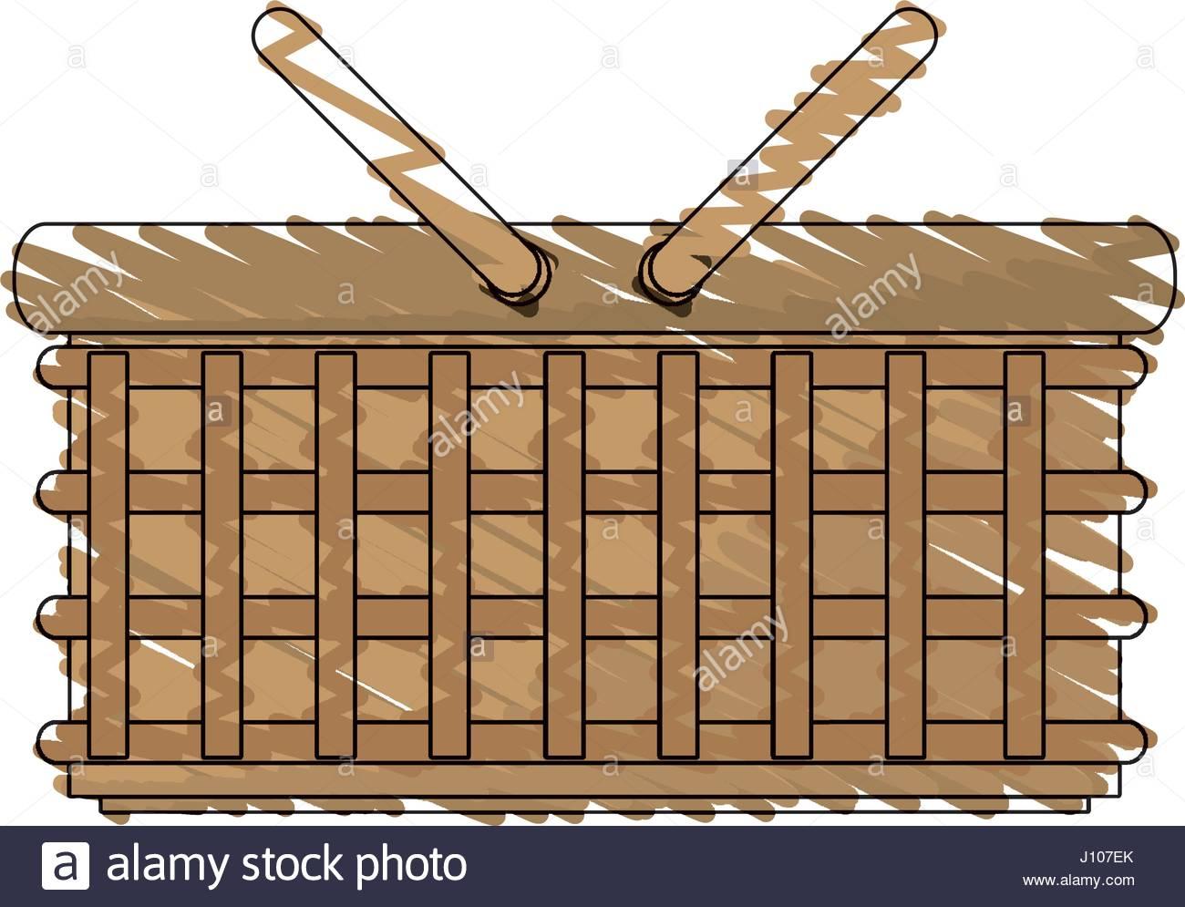 1300x995 Drawing Wicker Basket Picnic Image Stock Vector Art Amp Illustration