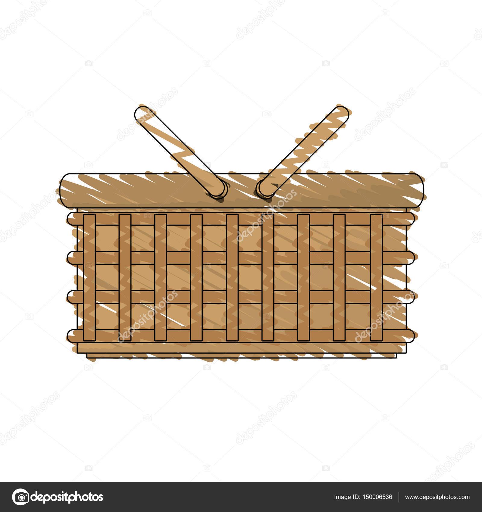 1600x1700 Drawing Wicker Basket Picnic Image Stock Vector Djv