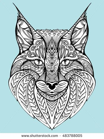 351x470 Abstract Portrait Of A Wild Cat. Lynx. Predatory Cat. Line Art
