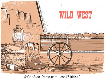 450x337 Wild West Background With Cowboy Boots.vector American Vector