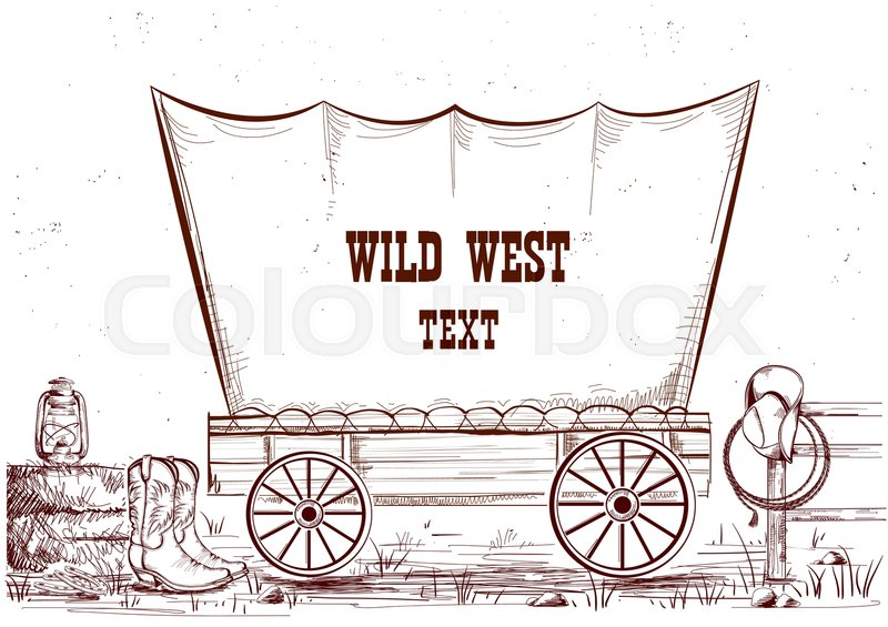800x565 Wild West Wagon.vector Hand Draw Illustration Background For Text