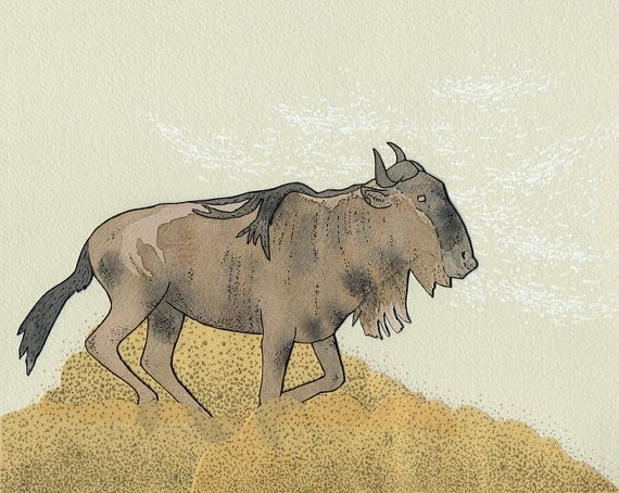 570x454 Search Wildebeest Print By Sadlyharmless On Etsy (Art