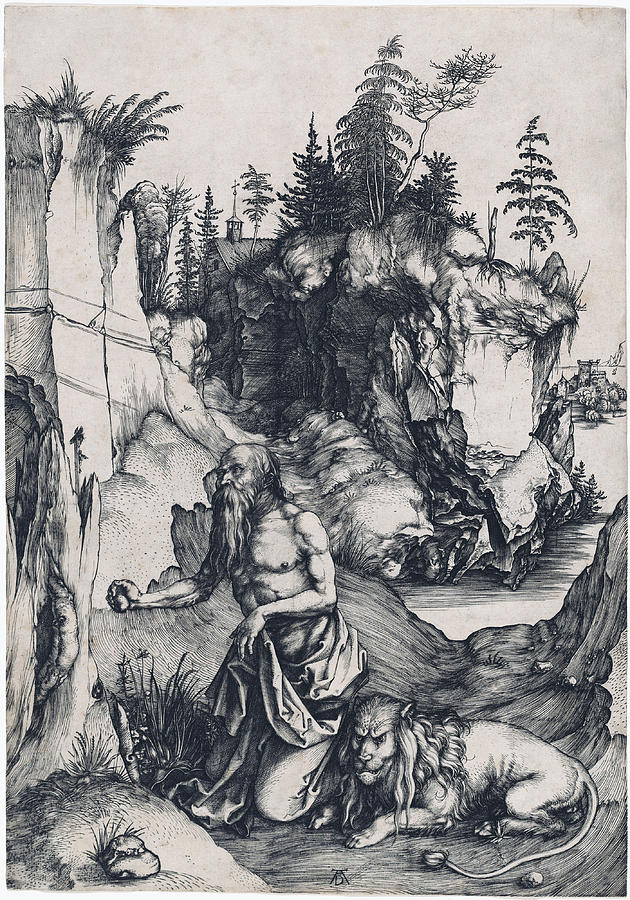 630x900 Saint Jerome Penitent In The Wilderness Drawing By Albrecht Durer