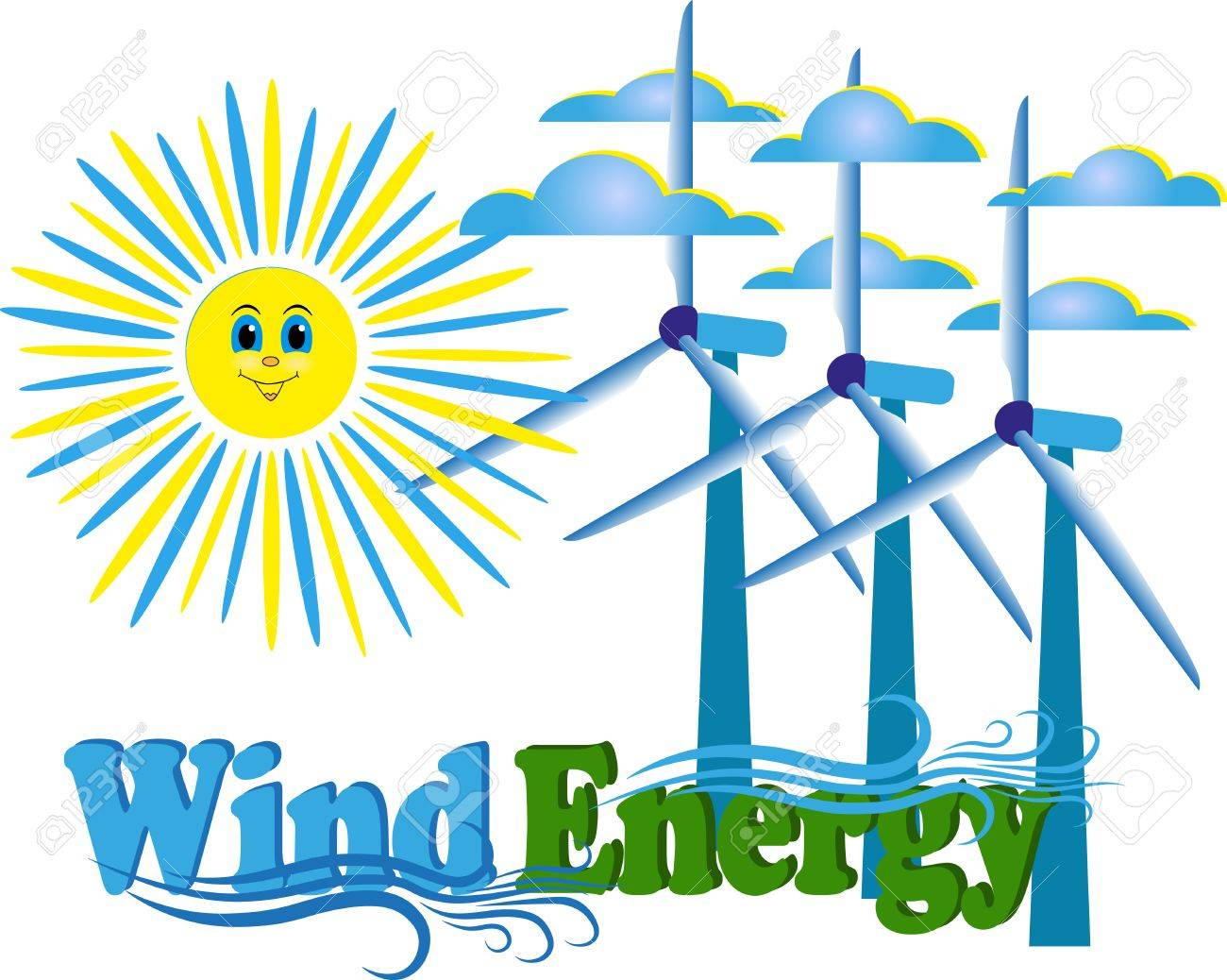 1300x1038 Vector Drawing Of Wind Energy On A Blank Background Royalty Free