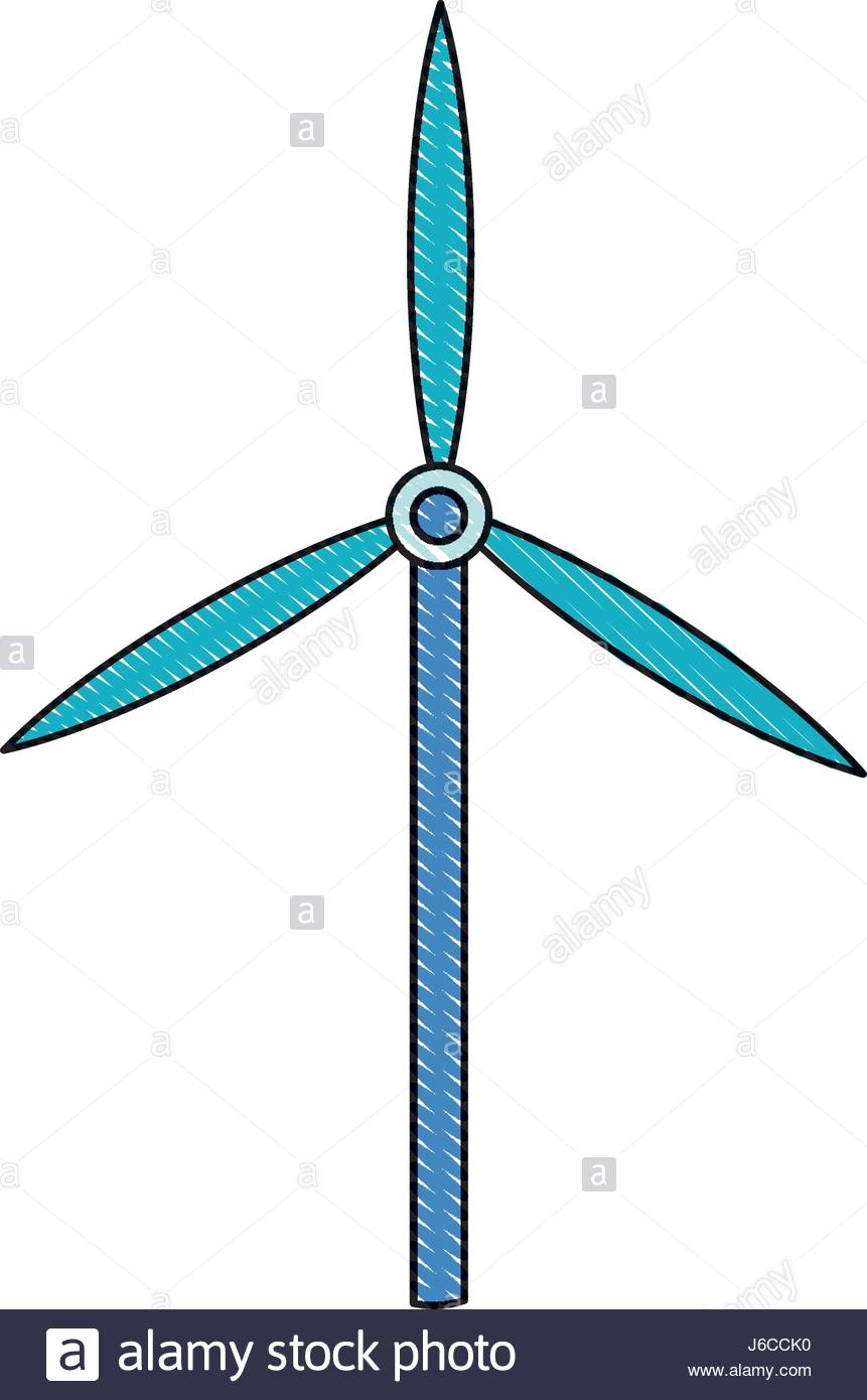 861x1390 Drawing Wind Turbine Tower Energy Recycle Design Stock Vector Art