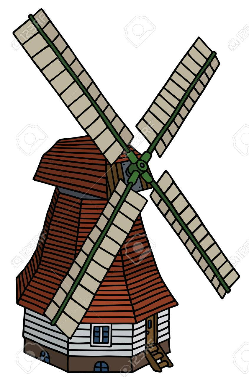 844x1300 Hand Drawing Of An Old Dark Red Wooden Windmill Royalty Free