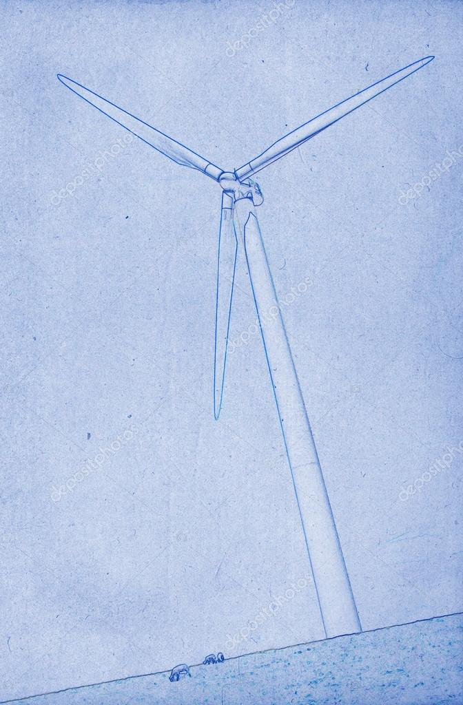 672x1024 Modern Windmill Drawing Stock Photo Michaklootwijk