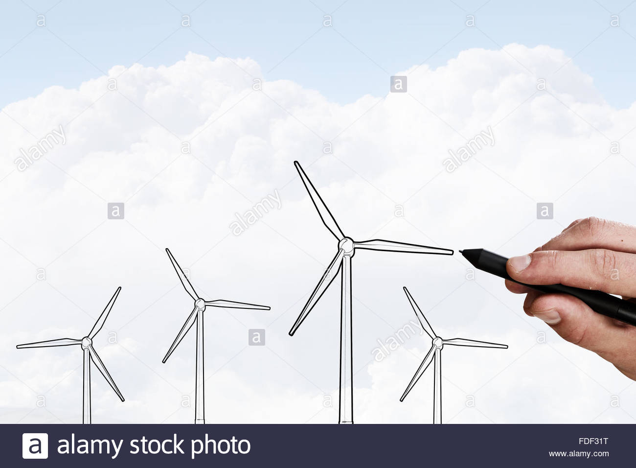 1300x956 Person Hand Drawing Windmills On Sky Background Stock Photo