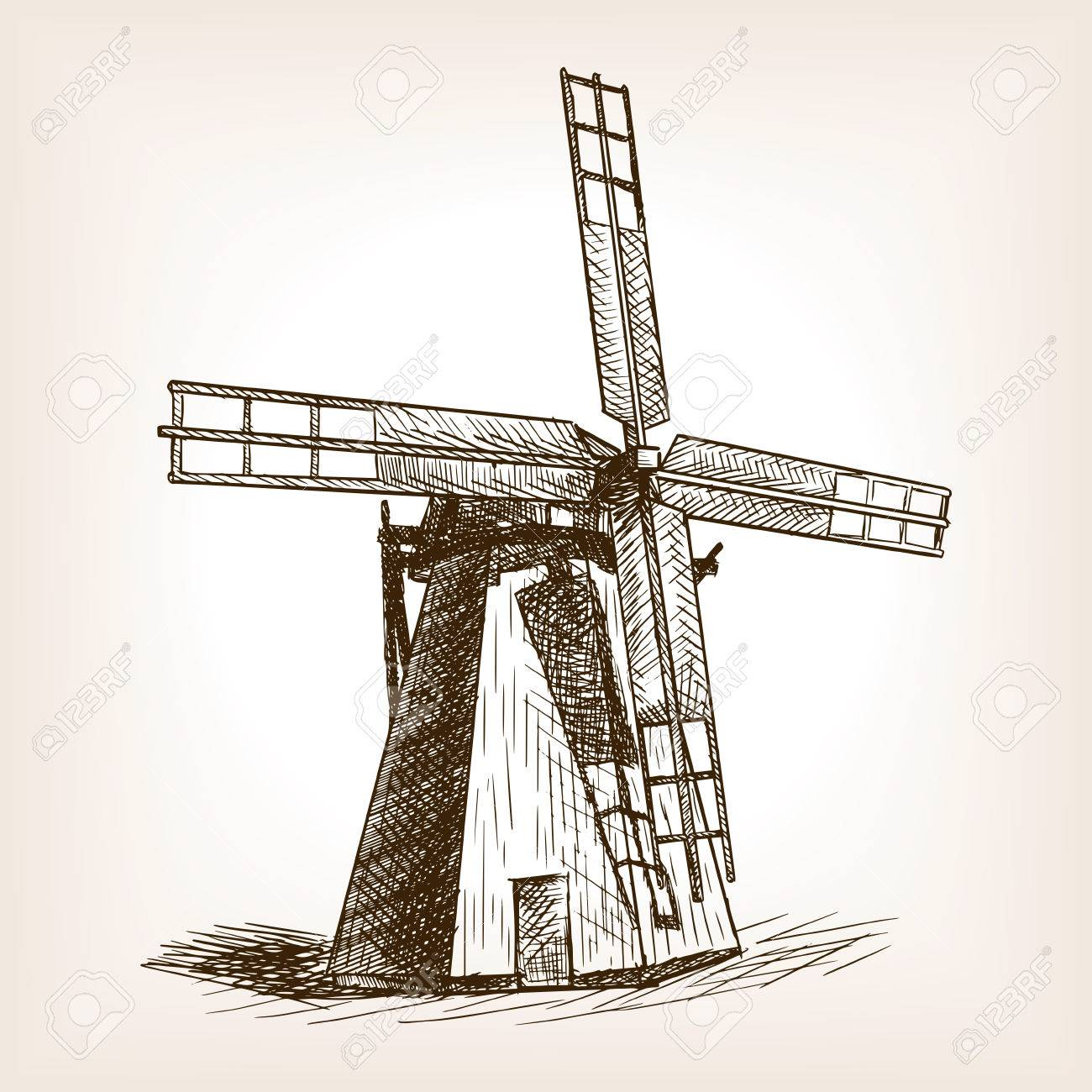 1300x1300 Windmill Sketch Style Vector Illustration. Old Engraving Imitation