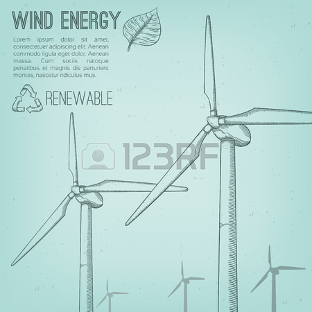 450x450 Wind Power Plant. Hand Drawn Vector Illustration. Royalty Free