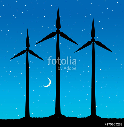 488x500 Wind Power Plant. Vector Drawing Stock Image And Royalty Free