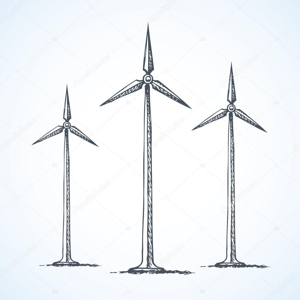1023x1023 Wind Power Plant. Vector Drawing Stock Vector Marinka