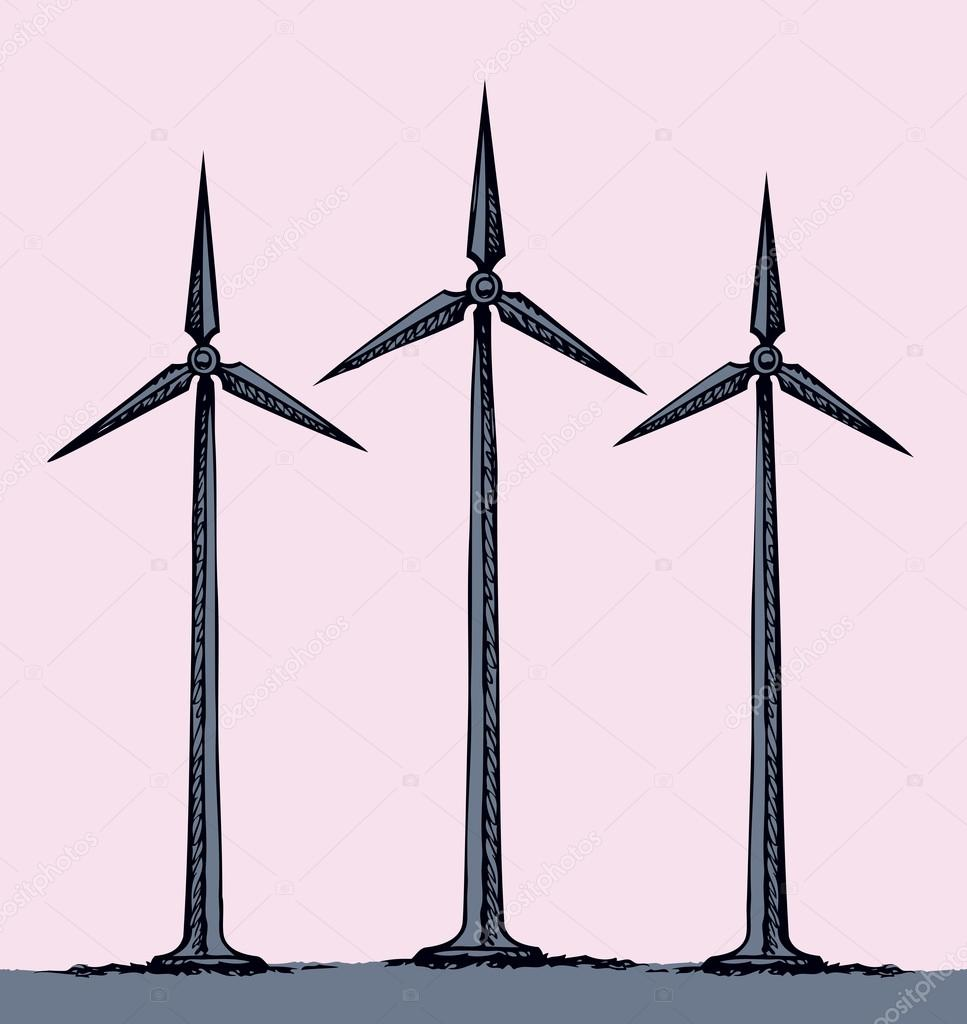 967x1024 Wind Power Plant. Vector Drawing Stock Vector Marinka