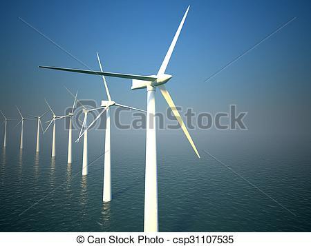 450x357 3d Wind Turbines Producing Energy In Sea. 3d Wind Turbines