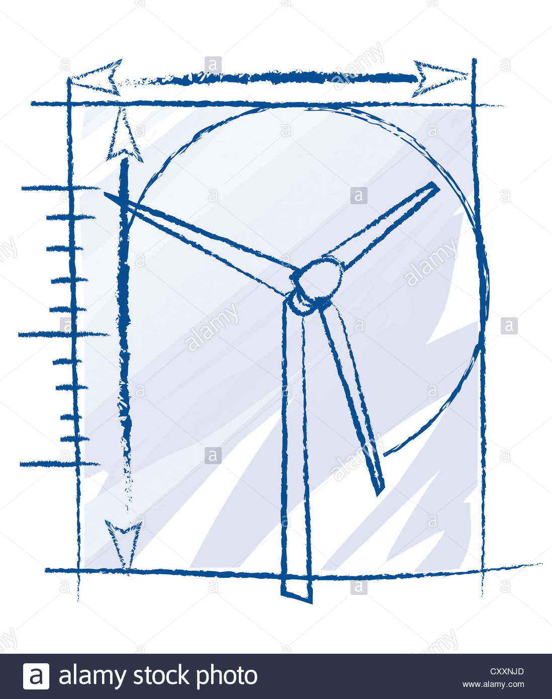 1098x1390 Illustration, Technical Drawing Of A Wind Turbine Stock Photo