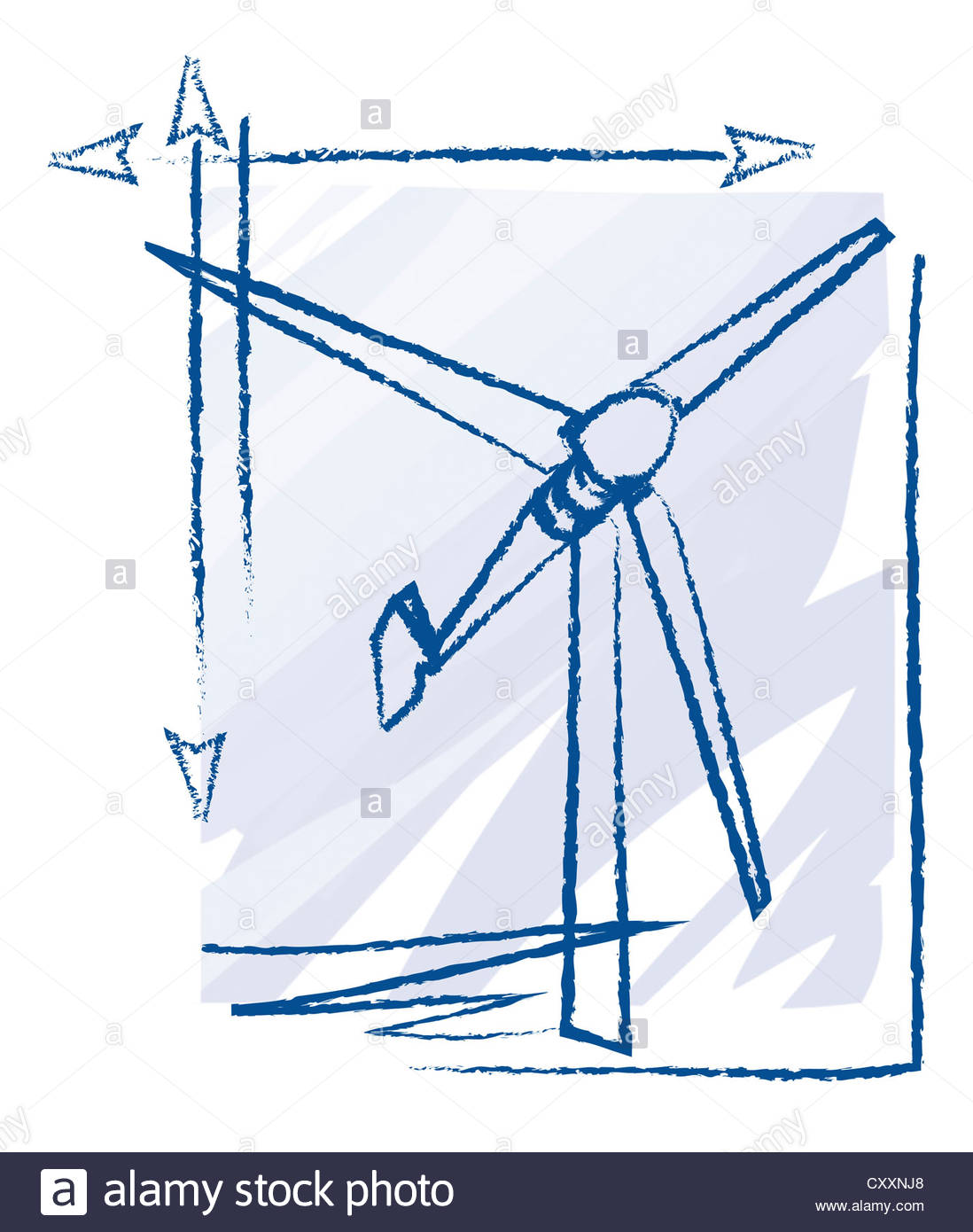 Wind Turbine Drawing At Free For Personal Use Schematic 1098x1390 Technical Illustration Stock Photo Royalty