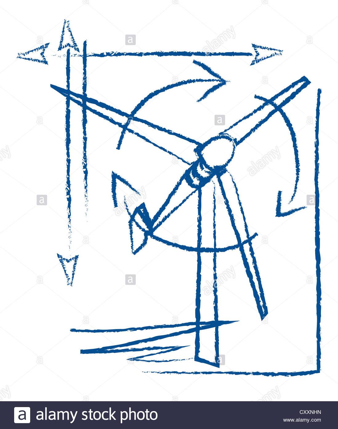 1098x1390 Wind Turbine, Technical Drawing, Illustration Stock Photo