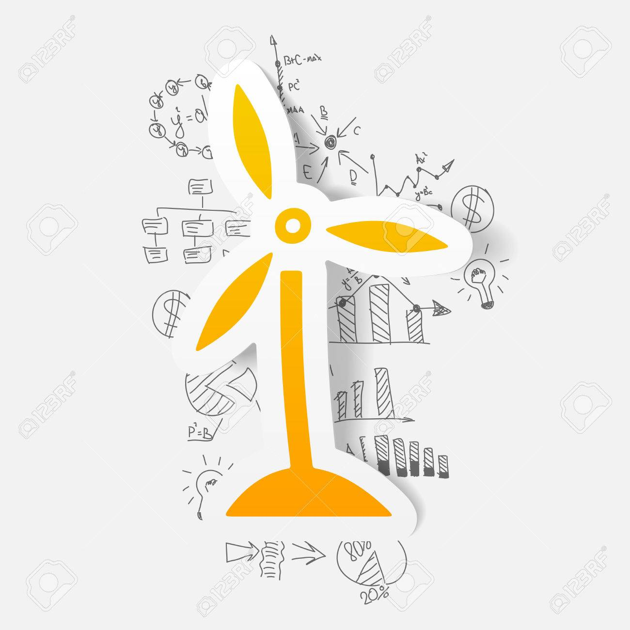 1300x1300 Drawing Business Formulas. Wind Turbines Royalty Free Cliparts