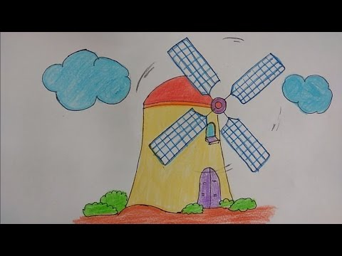 480x360 How To Draw Windmill For Kids, Draw Windmill By Alphabet X