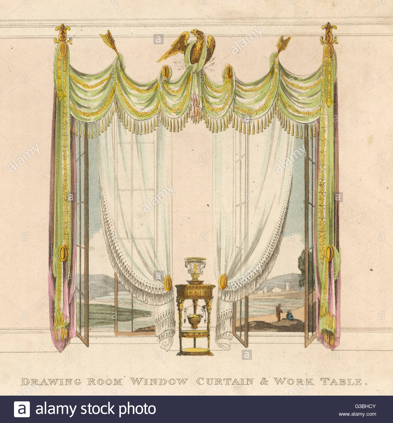 1291x1390 DRAWING ROOM WINDOW CURTAINS in the classical style, with bird and