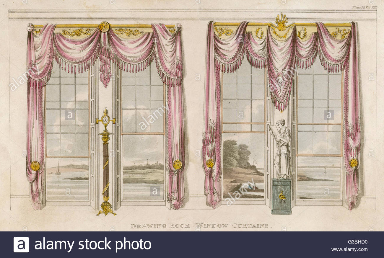 1300x874 Drawing Room Window Curtains In The Classical Style, With Heavy