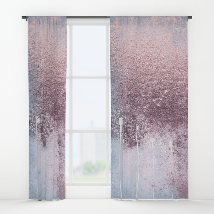 700x700 Dandelion Floral Drawing On Rose Gold Metal Window Curtains By